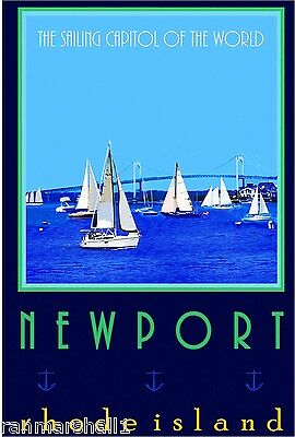 Newport Rhode Island Sailing United States America Travel Advertisement Poster