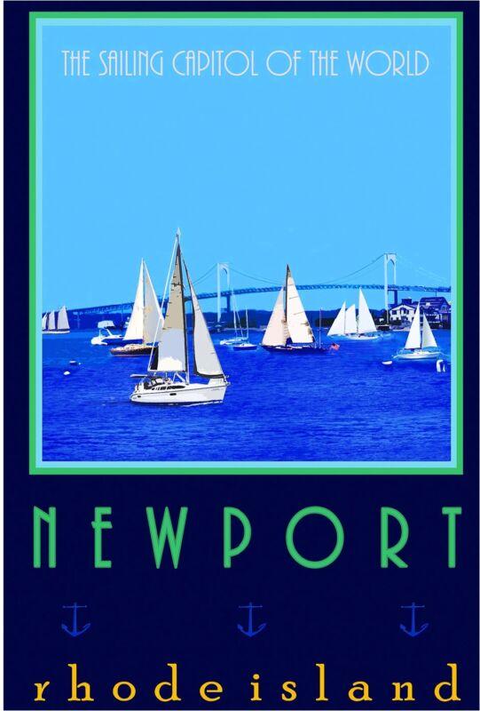 Newport Rhode Island Sailing United States America Travel Advertisement Poster