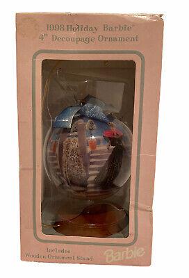 BARBIE Keepsake 1997 HOLIDAY BARBIE DOLL DECOUPAGE Christmas Ornament WOOD BASE