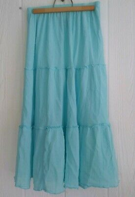 Two Twenty Collection Cotton Sheer 3 Tier Light Teal Blue Peasant Skirt Size (Casual 3 Tier Lighting)