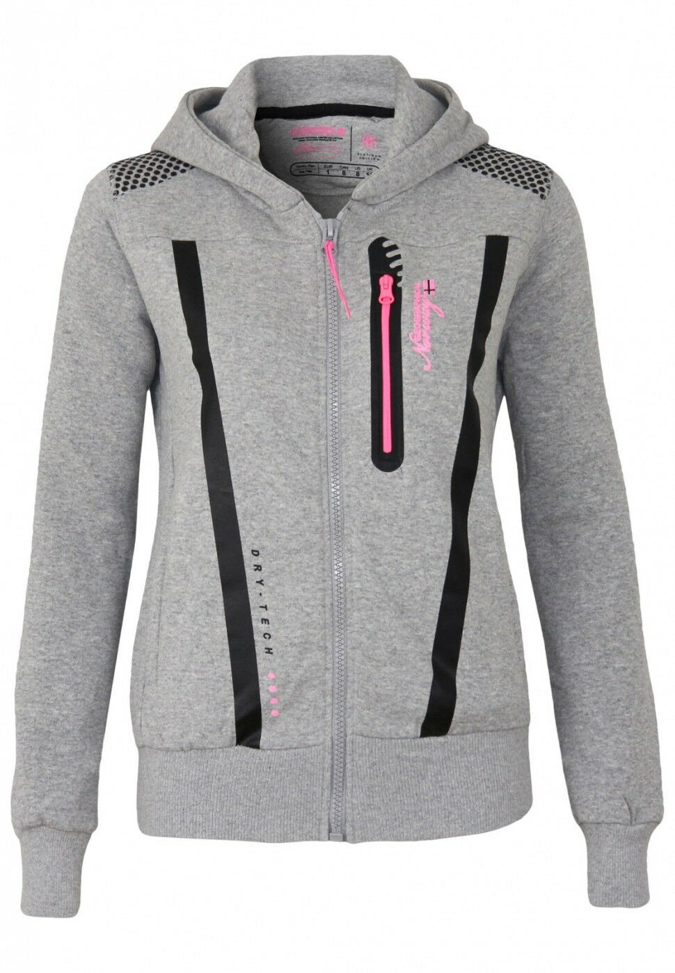 Geographical Norway Damen Sweatjacke Fitness Lady Kapuzepulli Strickjacke Sweat