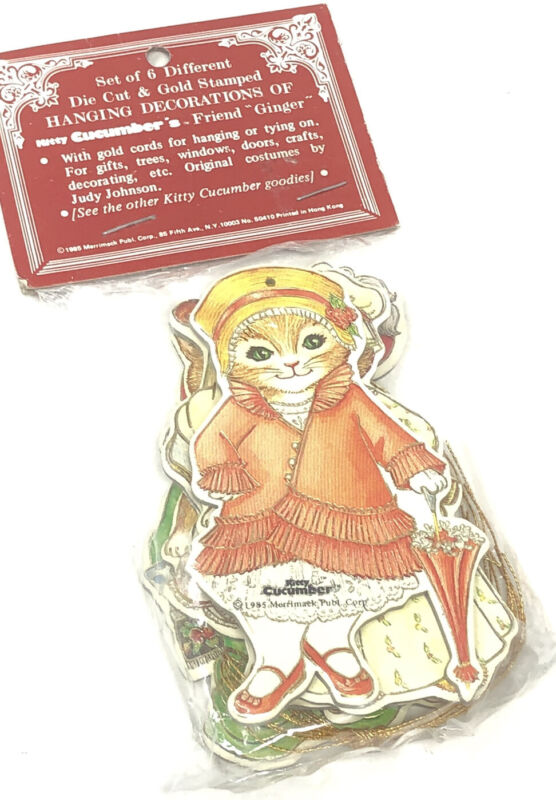 """KITTY CUCUMBER """"Ginger 6 Die Cut Gold Stamped Christmas Ornaments Merrimack 1985"""