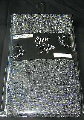 Intense Silver Glittery Black Ladies Tights 10-14 NEW Sparkly Opaque XMAS - Sparkly Black Tights