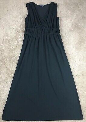 Chadwicks Women's Maxi Dress Size Medium Black Stretch Grecian V-Neck -