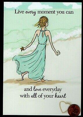 BIRTHDAY  Beach Ocean Sea Girl Shell Sand  -  GLITTERED - Birthday Greeting Card (Beach Greeting Cards)