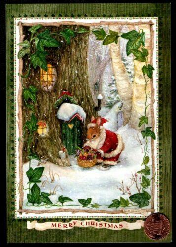 Christmas SUSAN WHEELER Bunny Rabbits Tree House Santa Suit - Greeting Card