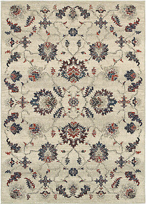 Beige Transitional Machine Made Vines Circles Leaves Area Rug Floral 6684B