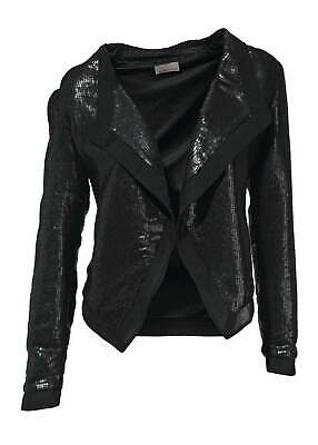 Mandarin Pailletten Shirtjacke schwarz Gr. 40 Kurzjacke Jacke Shirt - Mandarin Shirt Jacke
