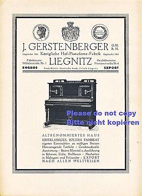 Gerstenberger Pianofortefabrik XL Reklame 1923 Liegnitz Klavier Piano Werbung ad