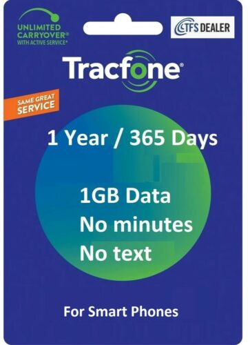 TracFone Service Extension 1 Year 365 Days + 1GB Data For SmartPhones