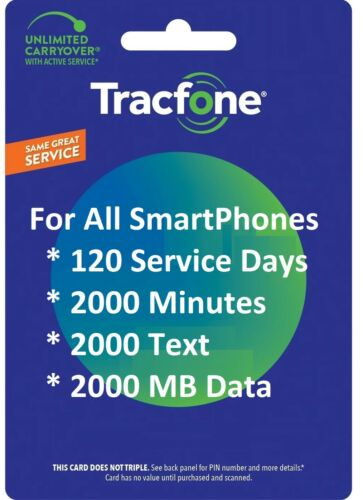 TracFone 120 Days 2000 Minutes,2000 Text,2 GB Data For Smart Phones,All Models