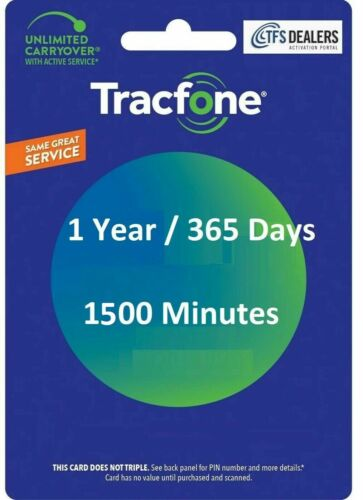 TracFone Service 1 Year/365 Days 1500 Minutes For SmartPhone,Direct Fast Refill