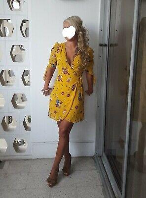 Mango xs  Yellow Summer Wrap Dress Size 8 Similar To Zara. Floral. Tea dress.
