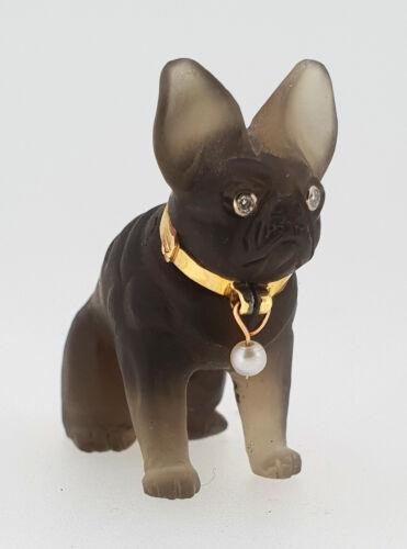Important CARTIER ca. 1900 Carved Smoky Quartz Figure French Bulldog Gold Collar