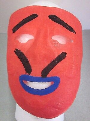 Vintage Cloth Halloween Mask Costume 1950's VGC Red Face Black Eyebrows Mustache