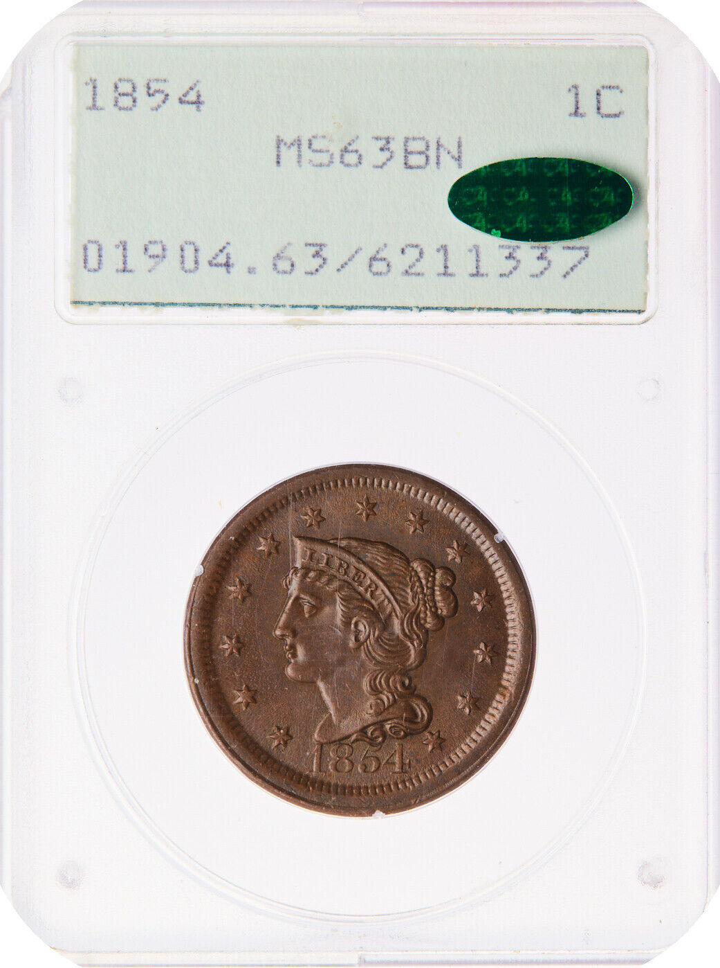 1854 N-11 R-2 PCGS MS 63 BN Braided Hair Large Cent Coin 1c - $1,000.00
