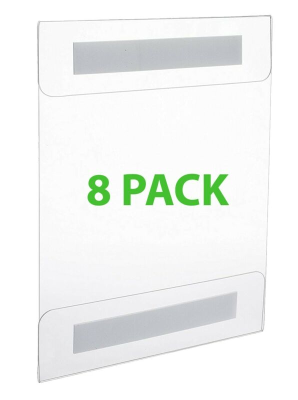 Wall Mount Sign Holder Letter 8.5 x 11 Clear Acrylic with Adhesive [8 PACK]