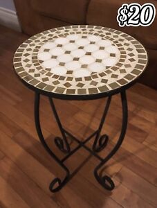 Metal Table with Ceramic Tile Inlay