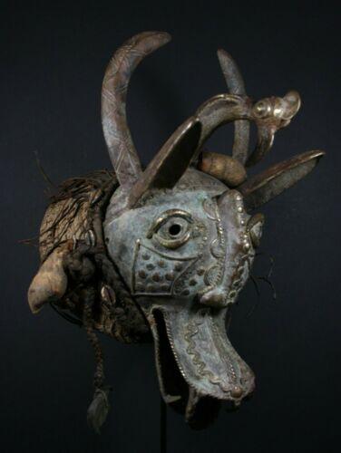 African Bronze Fable Figure Head Mask - TIKAR Grasslands Cameroon, TRIBAL ART