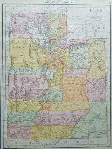 Rand McNally 1916 Antique Map of Utah