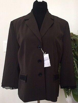 NWT Shape Fx Women's Career Brown Stripe Polyester Blend Blazer Suit Size 18