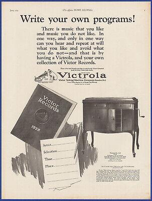 Vintage 1925 VICTROLA Model 215 Phonograph Victor Records 20's Print Ad