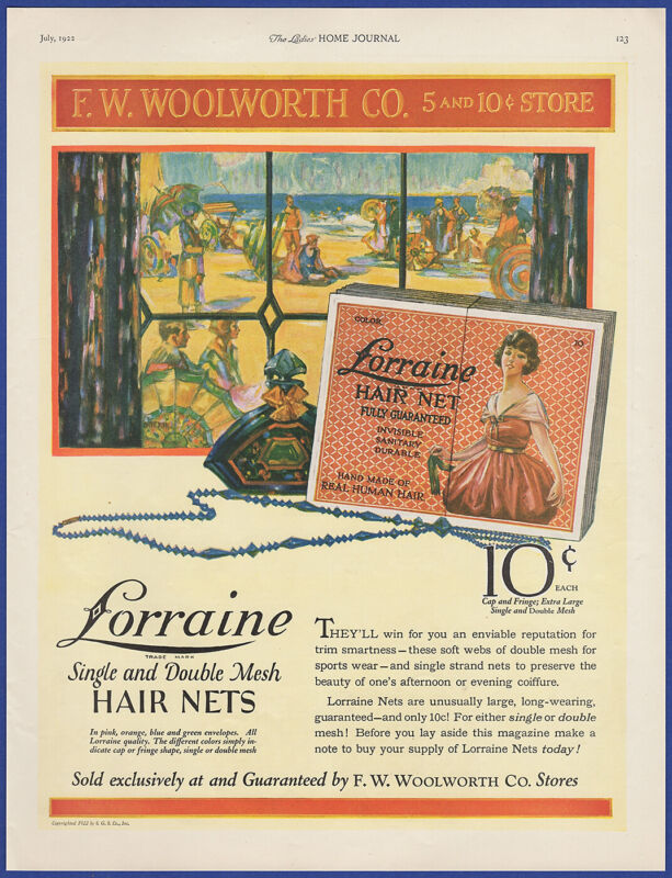 Vintage 1922 LORRAINE Mesh Hair Nets F.W. WOOLWORTH CO. Store 20