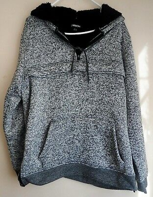 Unisex Long Sleeved Gray Black White Hoodie Size L