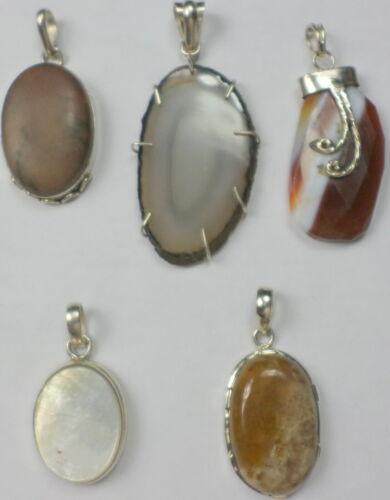 5 Vintage 925 Sterling Silver MOP Jasper Agate Cabs Gemstone Pendants 71 Grams