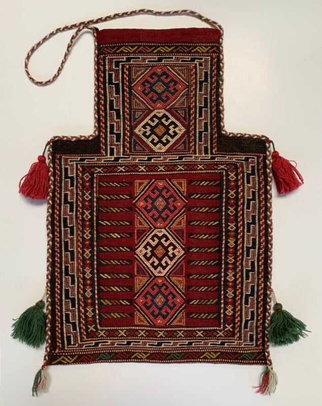 Antique Kilim Turkish Wool Shoulder Salt Bag Persian Afghan Woven Rug Nomadic