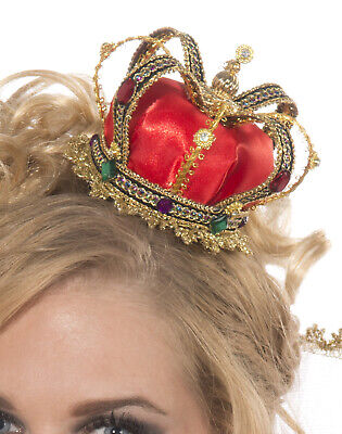 Mini Queen Crown Hat Queen Of Hearts Fairytale Women Halloween Costume Accessory](Crown Queen Of Hearts)