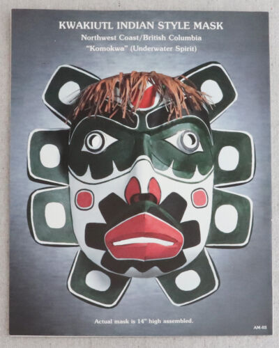 Pacific Northwest Indian Kwakiutl Komokwa Underwater Spirit Paper Mask Kit