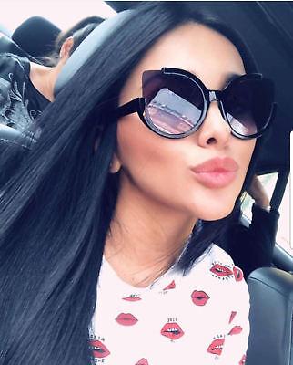 Round Cat - Oversize Big Fashion Designer Retro Round Cat Eye Flat Frame Women Sunglasses