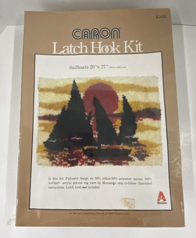 Vintage Caron Latch Hook Rug Kit Twilight Sail Sailboats Wall Hanging Craft NIB