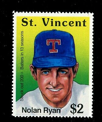 ST. VINCENT SCOTT# 1276h MNH BASEBALL/NOLAN RYAN/ STRUCK OUT 200+ BATTERS