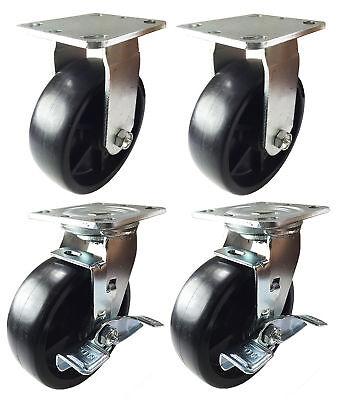 4 Heavy Duty Caster Set 4 6 8 Plastic Wheels Rigid Swivel And Brake