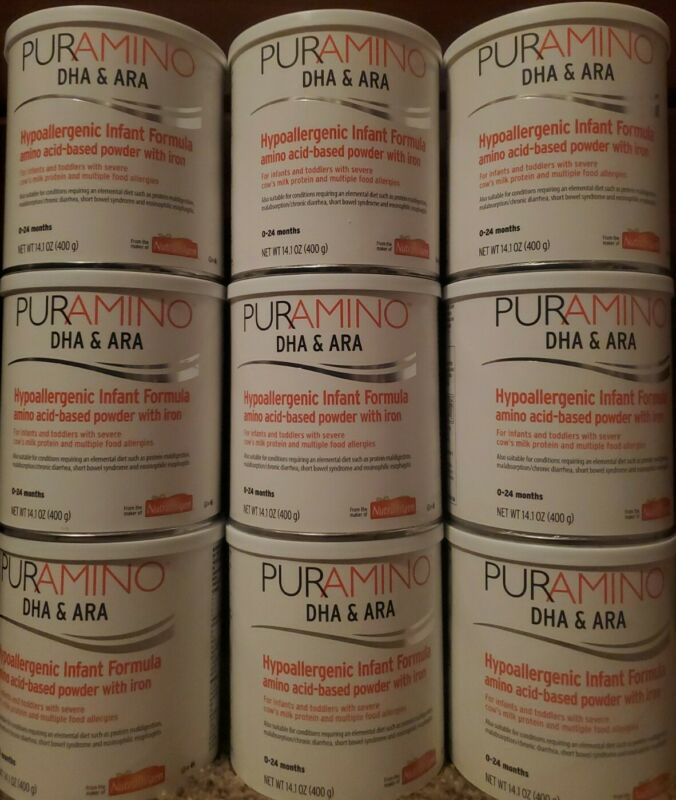 Lot of 9 (9 cans) of PURAMINO INFANT FORMULA/0-12 months (14.1 oz each).