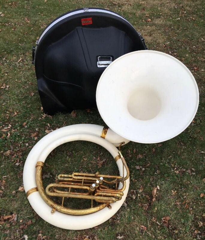 Vintage KING Sousaphone Tuba Brass Fiberglass Marching w/Case AS/IS UNTESTED