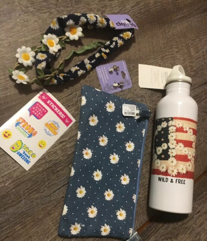Claire's Daisy Hair Old Navy Water Bottle Jewelry Bag Justice Sticker Lot