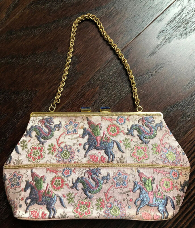 Vintage Cotillion Chinese Brocade Chain Strap Evening Bag
