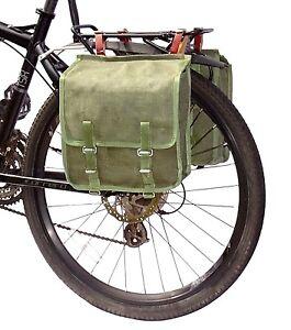 1980s Ex-Army Showerproof Canvas Pannier Bags Leather Straps green bike vintage