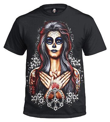Tag Der Toten T-shirt (Tag der Toten Frieden T-Shirt/ Tätowierung/ Mexikanisch/ Zuckerschädel/ Puppe/)