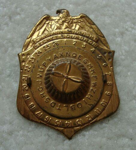 1941 Captain Midnight Secret Squadron Decoder Badge Pin : Radio Premium