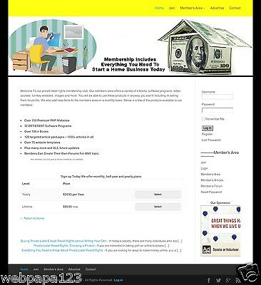 Resell Rights Membership Website Business For Sale Make Money Online - Home Bi