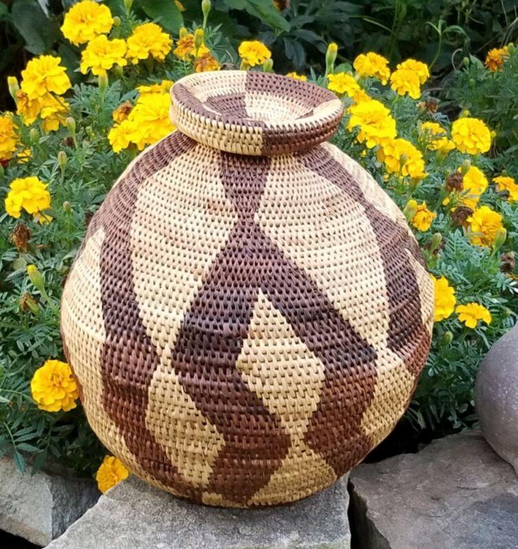 VTG Large African Botswana Basket - Bold Design