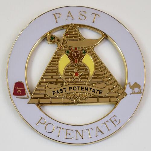 Auto Emblem Shrine Shriner Past Potentate Metal Enamel Mason Freemason