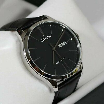 Citizen Mechanical Automatic Black Leather Elegant Men's Watch NH8350-08E Black Automatic Watch