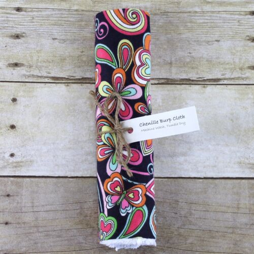 Chenille & Flannel Burp Cloth Navy Blue Pink Orange Yellow Floral New Baby Girl