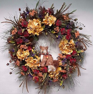 Flower Wreath Fox Fall Autumn Thanksgiving Door Wall Decoration Woodsy SALE ()