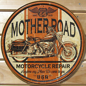 Mother-Road-Repair-Route-66-ROUND-TIN-SIGN-vintage-harley-motorcycle-art-1697